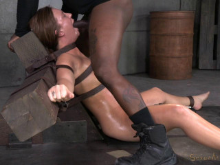 Maddy O'Reilly gets restrained and throatboarded by 2 fat rods