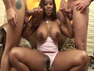 Ebony stunner enjoy white rods and Double penetration