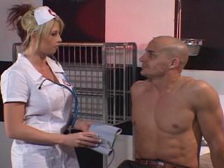 Light-haired nurse stuffed