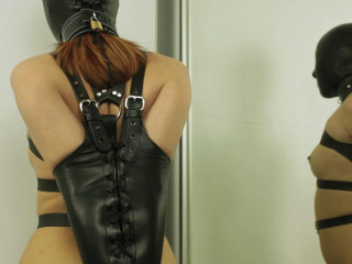 Leather Harness + Ebony Bondage mask & Armbinder