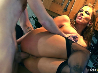 Kinky Busty Housewife Gets His Nice and Shining Hard-on