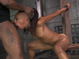 Toned dancer Nikki Darling rigorously fettered and facehole instructed by 2 rock-hard boners