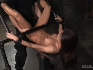 Prominent Kalina Ryu corded and used rigid in classic bang me pose with facefucking and vibrators!