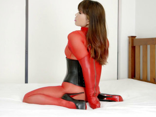 Restricted Perceives - Crimson Sheer Bodystocking