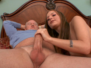 Naughty brunette enjoys smashing grandpas