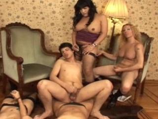 Enormous Cock She Masculine Gang Fuck