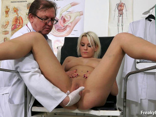 Old doctor performs puss enema on towheaded Sina