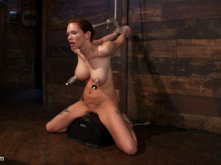 Extraordinary nip torment, cruel gag, a skull fucking, while the sybian saddle makes her jizm her brains out!