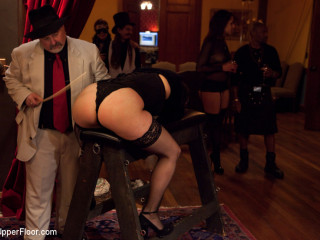 Uppity ash-blonde sub cropped back into form as real Bondage & Discipline players tear up on the dinner table