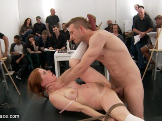 Trampy redhead shocks art Schoolgirls by taking thick man-meat in all crevices