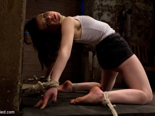 Predicament restrain bondage bondage as Juliette body is manhandled with agony & pleasure!  Multi-orgasms, pussy torture!