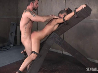 Red-hot MILF India Summer's is trussed to and 'X' frame, hooded, gagged, and brutally fucked!