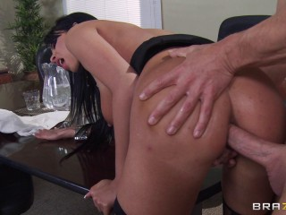 Super hot Brown-haired Dame Needs More From Him And His Office