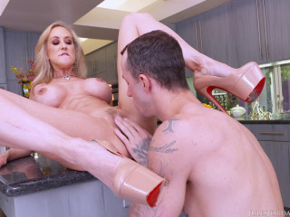 Big-chested Mummy Brandi Enjoy Takes His Massive Bone in Her Throat and Cunt - Dec 29, 2016