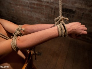 Southern female made to brutally jizz over & over. Taut bondage, brutal tit bondage.  Orgasms overload!