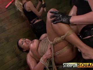 Brooklyn Daniels & Mila Blaze Love Cable Restrain bondage with Cougar Becca Diamond