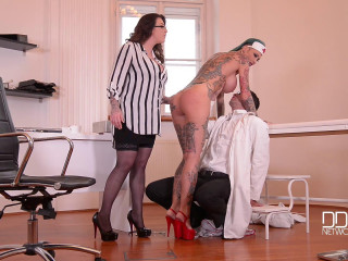 Calisi Ink, Harmony Reigns - Inked Nurses Gone Mischievous - Harassment In The Doctor's Office