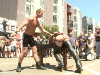 Tied hunk publicly tortured and group pounded for his very first Dore Alley