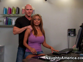 Bald Guy Cheats On His Wifey With Suntanned Huge-chested Doll