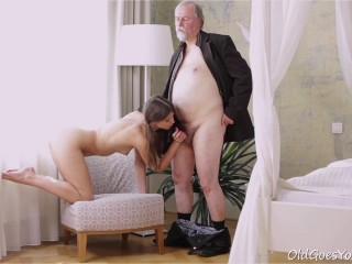 Youthful Marisa was experiencing pretty crazy and even though this stud was old she had to deepthroat on his cock!
