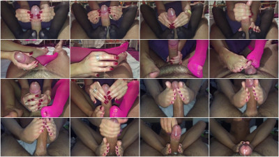Intensiver nylon footjob handjob