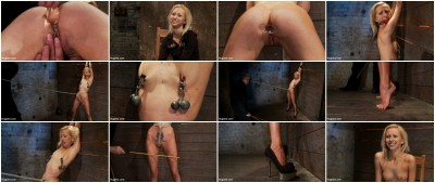 Tiny sexy blond  suffers heavy weighted nipple clamps & a crotch burner that keeps her on her toes!
