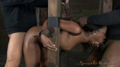 Chanell Heart ladder bound, tag teamed from both ends, brutal deepthroat, dicked down hard and deep!