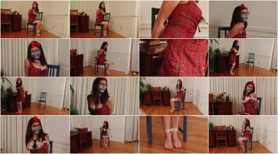 Bound and Gagged -Detention for Schoolgirl - Phoebe Queen in Barefoot Bondage