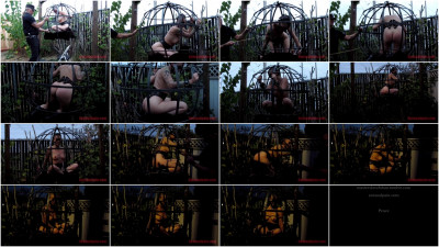 bdsm Sphere cage fuckery at dusk