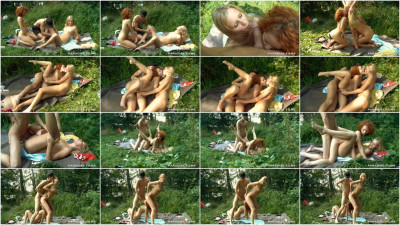 Public outdoor threesome