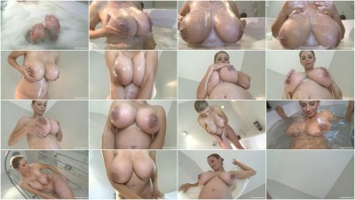 Elsa erotic washes her pregnant body in the shower