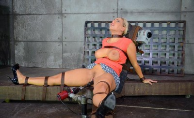 Lush Angel Allwood bound down to a fucking machine and throatboarded by 2 hard cocks