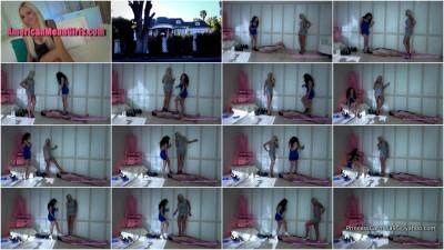 Femdom and Strapon Nina Elle and Princess Carmela Human Shoe Stage