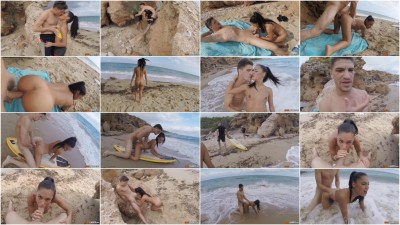 Apolonia surfs with Bruce Venture