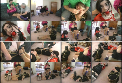 Bound with rope, she is hogtied and left to struggle