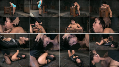 Nubile Mia Austin stuck in straightjacket deepthroats inverted suspension rough sex! (2015)