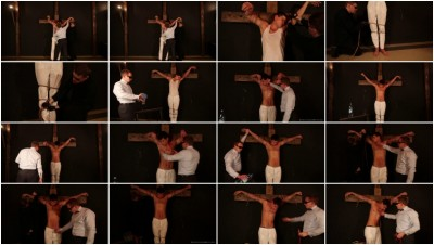 The second stage: Electrotortured and tied to the cross
