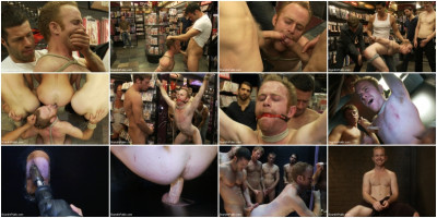 Van Darkholme, Tristan Jaxx, Ethan Hudson, Alex Summers - Hot Gym Trainer Gets Tied up and Gang Fucked in a Porn Store