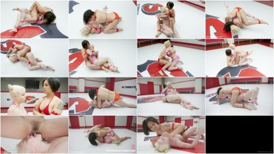 Femdom and Strapon Hot Blond and Asian grudge fuck each other in a sex fight