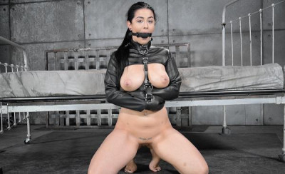 Sexy big breasted Katrina Jade gets manhandled while gagged and straightjacketed 2 on 1