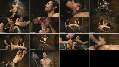 Gay BDSM Hot leather stud with a fat cock gets edged