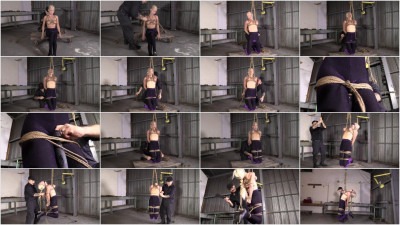 Tight bondage, strappado and torture for beautiful blonde with small tits