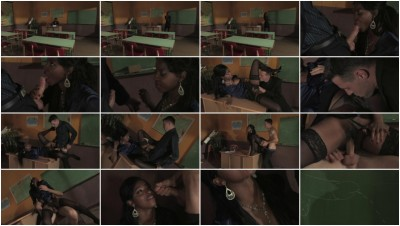 Sexy ebony in stockings gets drilled by a stud in class
