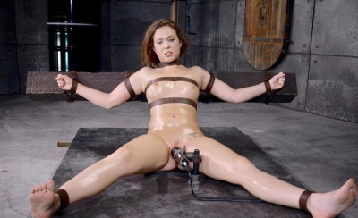 Cute Maddy OReilly gets restrained and throatboarded by 2 huge cocks