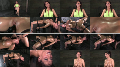 Syren De Mer on a sex machine for the 1st time while 2 cocks use her throat hole