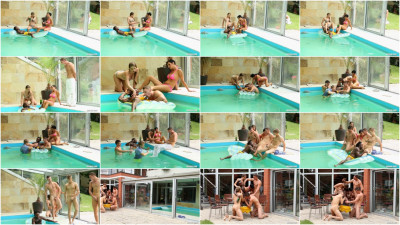 This orgy was right in the pool water