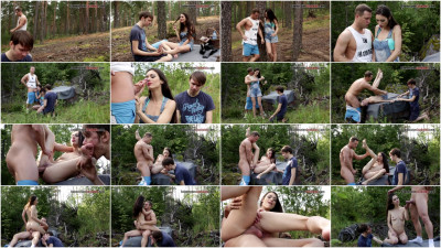 Femdom and Strapon Cuckold In The Wood