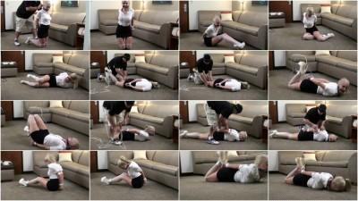 bdsm Liz Ashley Tied in White High Heels