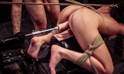 Nikki Bell Continues Fucking Machine Rope Bondage for her Master's Cum