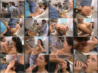 Sexy brunette Vanessa gets Laid in the Kitchen